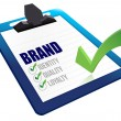 Identity, Quality and Loyalty checklist clipboard - Stock Photo