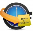 Time to go Back to school post an clock — Stock Photo