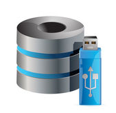 Modern computer server and usb stick — Stock Photo