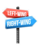 Left-wing and right-wing road sign — Stock Photo