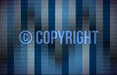 Word copyright on blue binary screen — Stock Photo