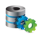 Computer server and gears — Stock Photo