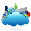 Business financial economy Cloud computing concept — Stockfoto