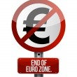 Stock Photo: Road traffic sign with a euro zone end