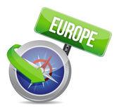 Kompas omgeleid naar europa — Stockfoto