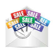 Envelope with for sale color signs — Stok fotoğraf