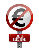 Road traffic sign with a euro zone end — Stock Photo