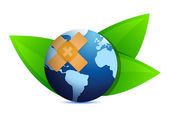 Eco globe and leaves with band aid — Stock Photo