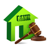 Judges gavel and bank — Stock Photo