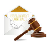 Employment contract document papers and gavel — Stock Photo