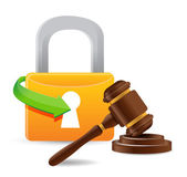 Lock and gavel — Stock Photo