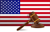 Us flag and gavel — Stock Photo