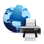 Printer and a international globe — Foto Stock