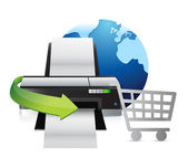 Printer international shopping concept — Stockfoto