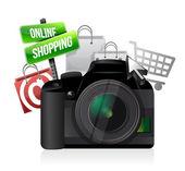 Camera online shopping concept — Stock Photo