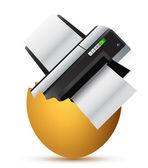Printer inside a broken egg — Stock Photo