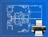 Printer blueprint illustration — Stock Photo