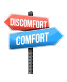 Discomfort versus comfort road sign — Stock Photo