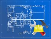 Impresión azul e ilustración de herramientas de construcción — Foto de Stock