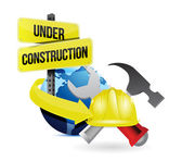 International globe under construction sign — Stock Photo