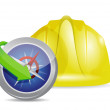Stock Photo: Compass and construction helmet