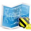 Blueprint and under construction sign — Stock Photo