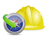 Compass and construction helmet — 图库照片