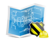 blueprint and under construction sign — Stockfoto