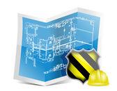 Plano y bajo signo de construcción — Foto de Stock