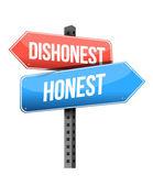 Dishonest, honest road sign — Stock Photo