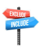 Exclude, include road sign — Stock Photo