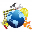 International globe under construction — Stock Photo