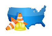Usa under construction concept — Stock Photo