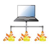 Laptop network issues illustration design — Stock Photo