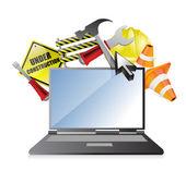 Laptop under construction concept — Stock Photo