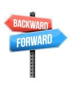 Forward versus backward road sign — Stock Photo