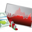 Failing stock exchange graph — Stock Photo #23360230