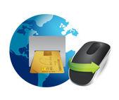 международные банковские и беспроводная компьютерная мышь — Стоковое фото