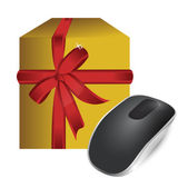 Gift box and Wireless computer mouse — Stock Photo
