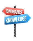 Ignorance, knowledge road sign — Stock Photo