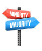 Minority, majority road sign illustration design — Stock Photo