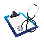 Clipboard with a Stethoscope — Stock Photo