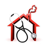 Real estate suffering concept with a Stethoscope — Stock Photo