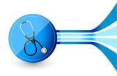 Design blu con uno stetoscopio — Foto Stock
