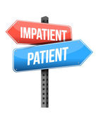 Señal de tráfico impaciente, paciente — Foto de Stock