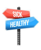 Sick, healthy road sign — Stock Photo