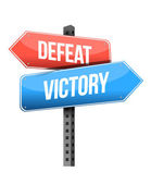 Defeat, victory road sign — Stock Photo