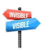 Invisible, visible road sign — Stock Photo