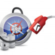 Compass guide with a gas pump nozzle — Stock Photo