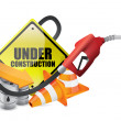 Under construction sign with a gas pump nozzle — Stock Photo #23767937